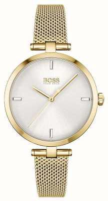 BOSS Donna | maestà | quadrante argento | bracciale in maglia d'oro pvd 1502586