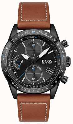 BOSS Uomo | edizione pilota | crono | quadrante nero | pelle marrone 1513851