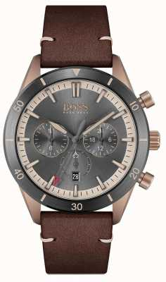 BOSS | uomo | santiago | quadrante grigio | cinturino in pelle marrone | 1513861