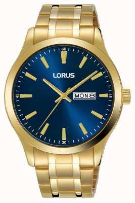 Lorus Mens | quadrante blu | bracciale in acciaio placcato oro RH340AX9