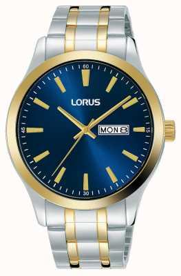 Lorus Mens | quadrante blu | bracciale in acciaio inossidabile bicolore RH342AX9