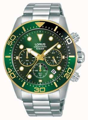 Lorus Mens | cronografo | quadrante verde | bracciale in acciaio inossidabile RT340JX9
