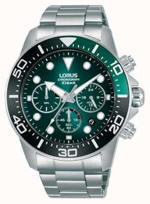 Lorus Cronografo da uomo | quadrante verde | bracciale in acciaio inossidabile RT341JX9