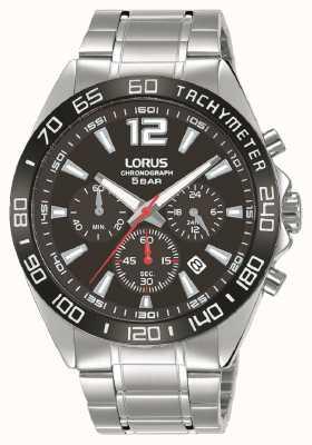 Lorus Mens | cronografo | quadrante nero | bracciale in acciaio inossidabile RT335JX9