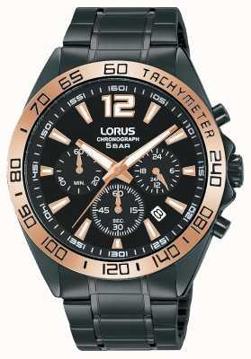 Lorus Mens | cronografo | quadrante nero | bracciale in acciaio ip nero RT336JX9