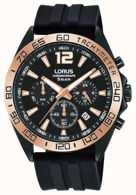 Lorus Mens | cronografo | quadrante nero | cinturino in silicone nero RT338JX9