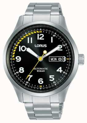 Lorus Mens | automatico | quadrante nero | bracciale in acciaio inossidabile RL457AX9