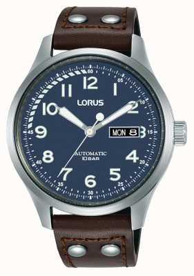 Lorus Mens | automatico | quadrante blu | cinturino in pelle marrone RL463AX9