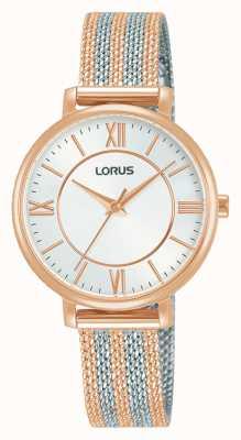 Lorus Donna   quadrante bianco   bracciale in maglia bicolore RG216TX9