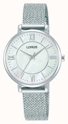 Lorus Donna   quadrante bianco   bracciale in maglia di acciaio inossidabile RG221TX9