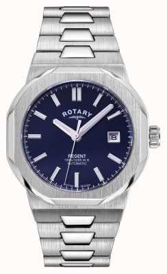 Rotary Mens | reggente | automatico | quadrante blu | bracciale in acciaio inossidabile GB05410/05