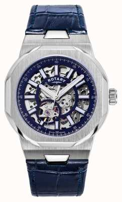 Rotary Mens | reggente | automatico | quadrante scheletrato blu | cinturino in pelle blu GS05415/05