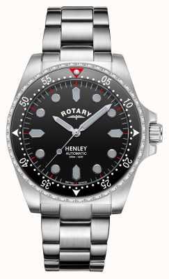 Rotary Uomo | henley | automatico | quadrante nero | bracciale in acciaio inossidabile GB05136/04