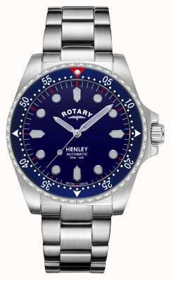 Rotary Uomo | henley | automatico | quadrante blu | bracciale in acciaio inossidabile GB05136/05