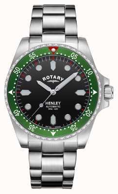 Rotary Uomo | henley | automatico | quadrante nero | bracciale in acciaio inossidabile GB05136/71