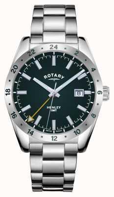 Rotary Mens | henley | gmt | quadrante verde | bracciale in acciaio inossidabile GB05176/24