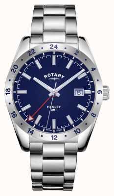 Rotary Mens | henley | gmt | quadrante blu | bracciale in acciaio inossidabile GB05176/05