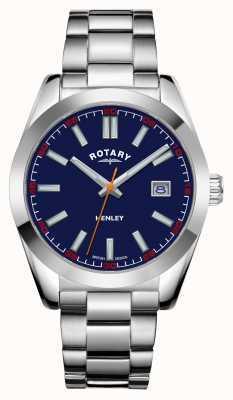 Rotary Mens | henley | quadrante blu | bracciale in acciaio inossidabile GB05180/05