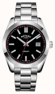 Rotary Mens | henley | quadrante nero | bracciale in acciaio inossidabile GB05180/04