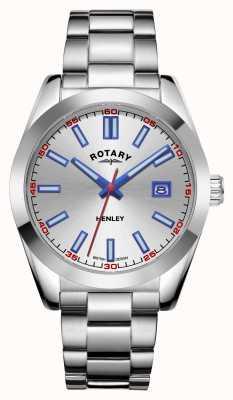 Rotary Mens | henley | quadrante argento | bracciale in acciaio inossidabile GB05180/59