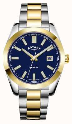 Rotary Mens | henley | quadrante blu | bracciale in acciaio inossidabile bicolore GB05181/05