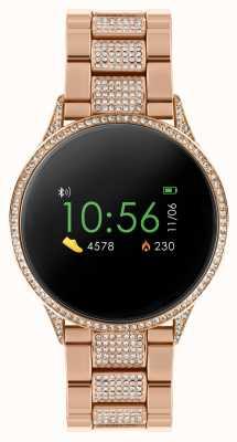 Reflex Active Orologio intelligente serie 4 | touch screen a colori | bracciale in acciaio inossidabile oro rosa con pietre incastonate RA04-4014