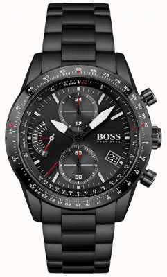 BOSS | uomo | edizione pilota | braccialetto nero | quadrante cronografo nero | 1513854