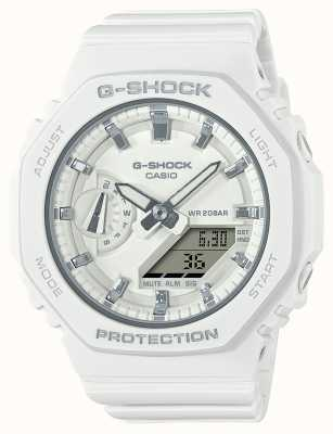 Casio G-shock di taglia media | cinturino in resina bianca | quadrante bianco GMA-S2100-7AER