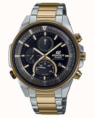 Casio Cronografo sottile con zaffiri Edifice | bracciale in acciaio bicolore | quadrante nero EFS-S590SG-1AVUEF