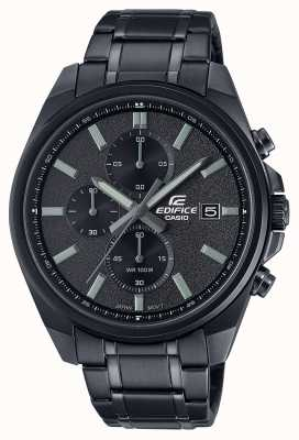 Casio Edifice all black ip | bracciale in acciaio inossidabile nero | quadrante nero EFV-610DC-1AVUEF