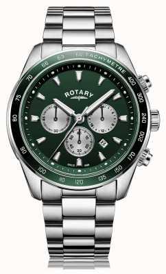 Rotary Mens | henley | cronografo | quadrante verde | bracciale in acciaio inossidabile GB05109/24