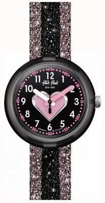 Flik Flak Cuoricino | cinturino in tessuto rosa / nero | quadrante nero FPNP071