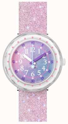 Flik Flak Pearlaxus | cinturino in silicone glitter rosa | quadrante multicolore FCSP107