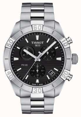 Tissot Pr100 sport | cronografo | quadrante nero | bracciale in acciaio inossidabile T1016171105100