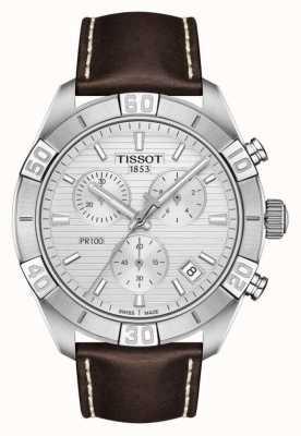 Tissot Pr100 sport | cronografo | quadrante argento | cinturino in pelle marrone T1016171603100