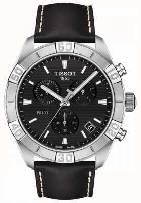 Tissot Pr100 sport | cronografo | quadrante nero | cinturino in pelle nera T1016171605100