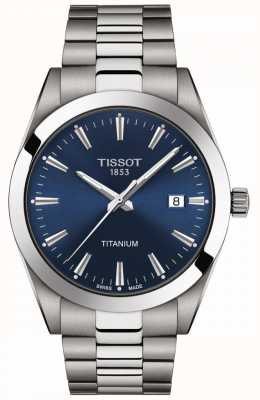 Tissot Gentlemen titanium | bracciale in titanio grigio / argento | quadrante blu T1274104404100