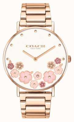 Coach Perry | bracciale da donna in acciaio oro rosa | quadrante floreale 14503768