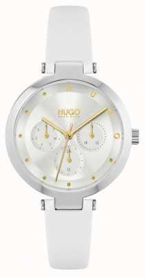 HUGO #hope | cinturino in pelle bianca da donna | quadrante argentato 1540086