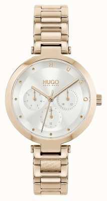 HUGO #hope multi | bracciale da donna in acciaio tonalità oro rosa | quadrante argentato 1540087