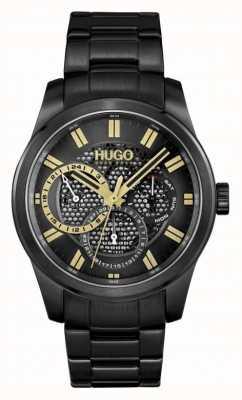 HUGO #scheletro | braccialetto ip nero da uomo | quadrante nero 1530192