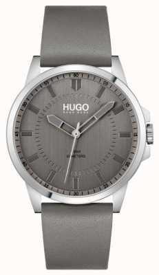 HUGO #first | cinturino in pelle grigia da uomo | quadrante grigio 1530185