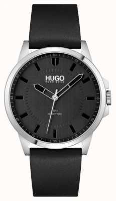 HUGO #first | cinturino in pelle nera da uomo | quadrante nero 1530188