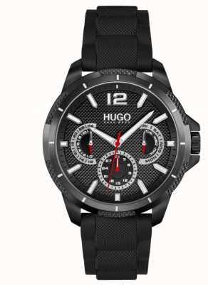 HUGO #sport | cinturino in silicone nero da uomo | quadrante nero 1530193