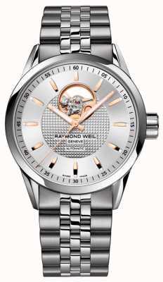 Raymond Weil Libero professionista | bracciale da uomo in acciaio inossidabile | quadrante argentato 2710-ST5-65021