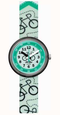 Flik Flak Pista ciclabile | cinturino in tessuto stampa bici verde | quadrante verde FPNP066