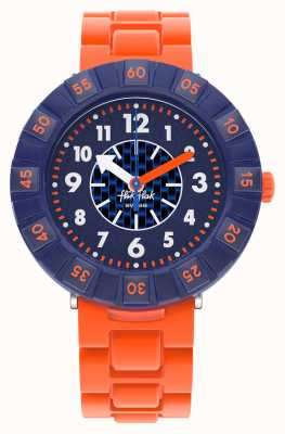 Flik Flak Orangebrick | cinturino in silicone arancione | quadrante blu FCSP103