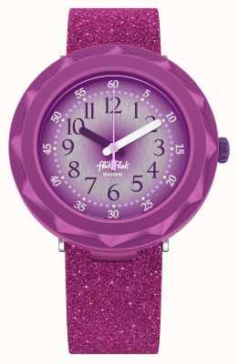 Flik Flak Purpleaxus | cinturino in silicone glitter viola | quadrante viola FCSP106