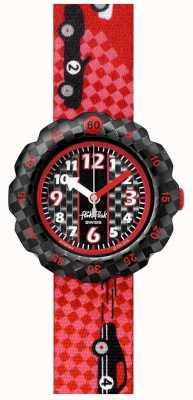 Flik Flak 3 2 1 via! | cinturino in tessuto rosso stampa auto da corsa | quadrante nero FPSP044