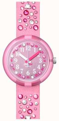 Flik Flak Millefeux | cinturino in tessuto con cristalli rosa | quadrante rosa FPNP074